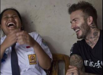 David Beckham Kunjungi Murid SMP di Semarang